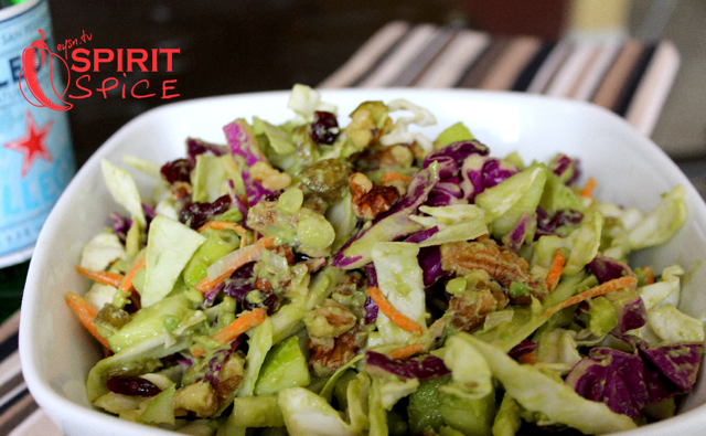 Summertime Coleslaw with Raw Vegan Avocado Dressing!